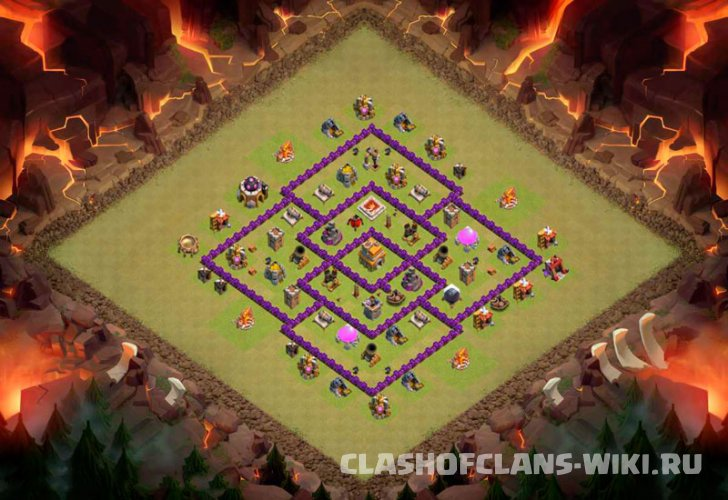 clash of clans 7тх расстановка для кв с 3пво #1