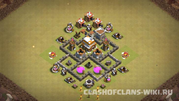 Лучшие базы Clash of Clans - расстановка TH 4 / ТХ 4 ...