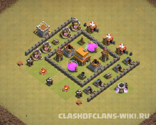 расстановка для тх 4 clash of clans для кв #10
